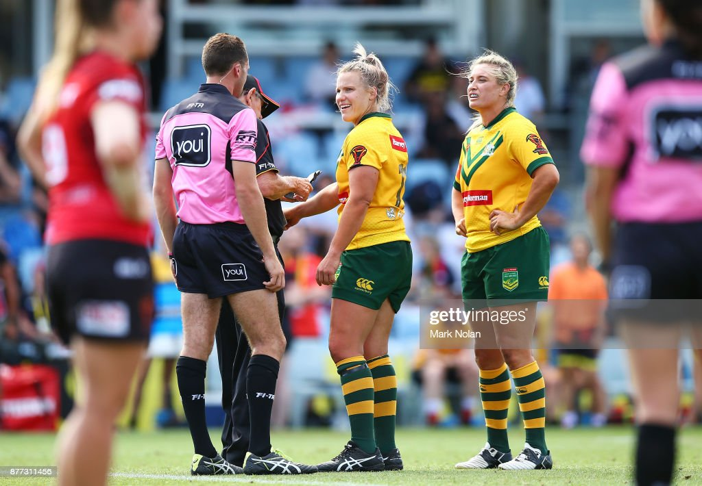 Renae Kunst of Australia makes an official bitiing complaint during the Women's Rugby League World Cup match between the Canadian Ravens and the Australian Jillaroos at Southern Cross Group Stadium on November 22, 2017 in Sydney, Australia.