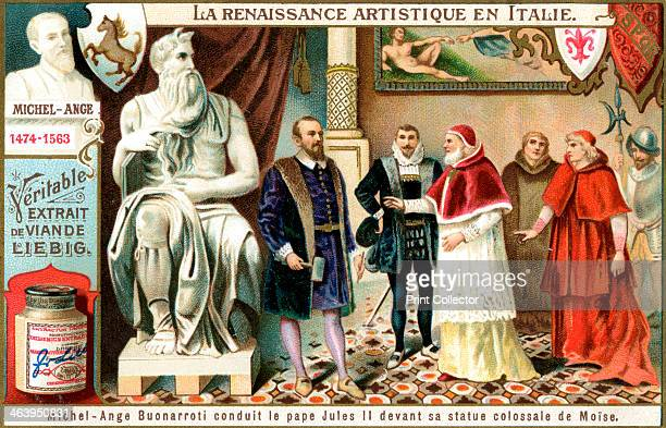 Michelangelo Michelangelo shows Pope Julius II his colossal sculpture of Moses French advertisement for Liebig's extract of meat