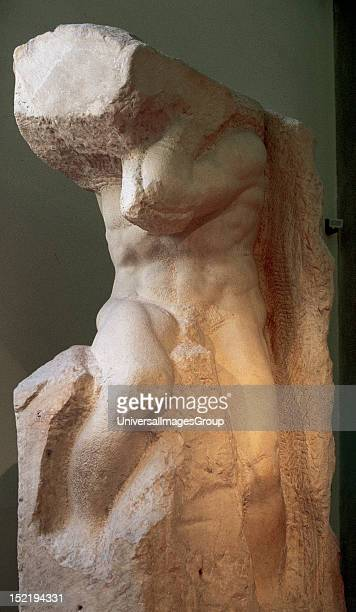 Renaissance Art Italy Michelangelo Painter poet Italian sculptor and architect Atlas slave Marble One of the 'Prisoners' the series of unfinished...