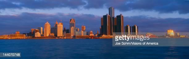 Renaissance Center Detroit Sunrise Michigan