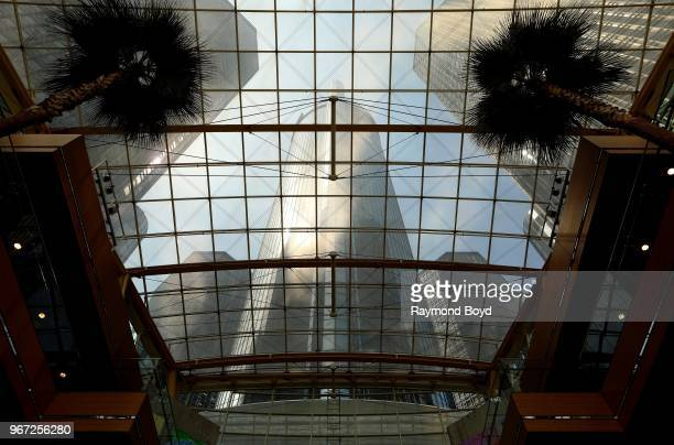 Renaissance Center home of General Motors and Marriott Hotel photographed through the atrium ceiling in Detroit Michigan on May 24 2018