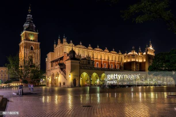 Renaissance Cloth Hall Sukiennice  and Town Hall tower in the Main Market Square of Krakow, Poland