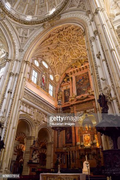 Renaissance high main altar and gothic ceiling of the Cordoba Cathedral Mosque