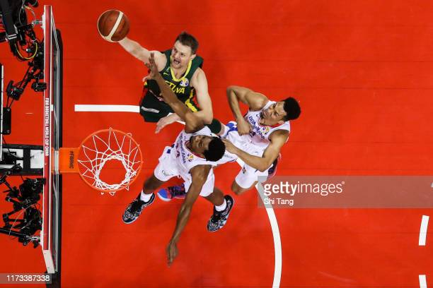 Renaldas Seibutis of Lithuania drives during 2nd round Group L match between Dominican Republic and Lithuania of 2019 FIBA World Cup at Nanjing Youth...