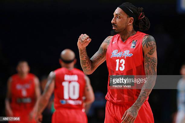 Renaldo Balkman of Puerto Rico celebrates during a match between Argentina Puerto Rico as part of the 2015 FIBA Americas Championship for Men at...