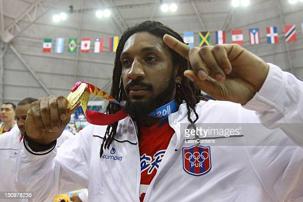 Renaldo Balkman of Puerto Rico gold medal during the Men's Basketball final match between Mexico and Puerto Rico in the 2011 XVI Pan American Games...
