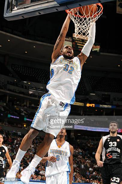 Renaldo Balkman of the Denver Nuggets goes to the basket during the preseason game against Belgrade Partizan on October 3 2009 at the Pepsi Center in...