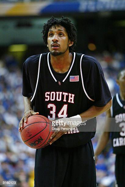 Renaldo Balkman of the South Carolina Gamecocks shoots a free throw during the SEC Men's Basketball Tournament semifinals game against the Kentucky...