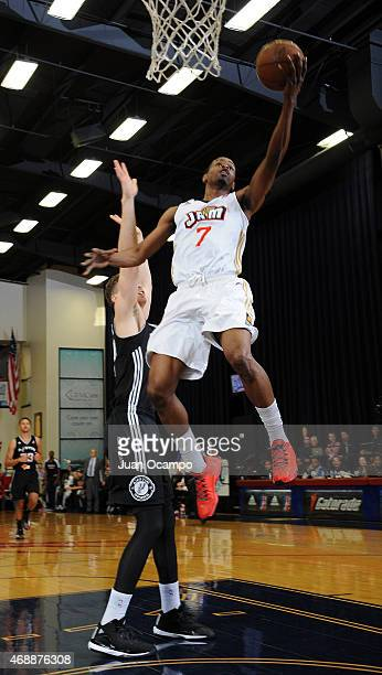 Renaldo Major of the Bakersfield Jam goes to the basket against Erik Murphy of the Austin Spurs during Game One of the NBA DLeague Western Conference...