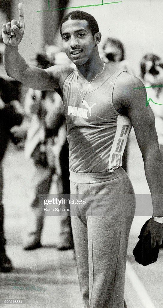 Renaldo Nehemiah: World record-holder in 50-year hurdles set indoor mark at Star Games last night. : News Photo