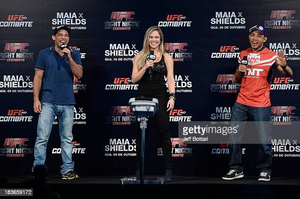 Renan Barao, UFC host Paula Sack and Jose Aldo answer questions from fans during a Q&A session before the UFC Fight Night: Maia v Shields weigh-in at...