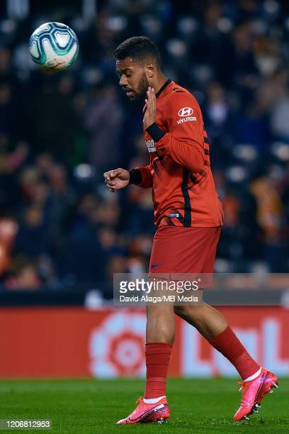 Renan Lodi of Atletico de Madrid in action prior to the Liga match between Valencia CF and Club Atletico de Madrid at Estadio Mestalla on February 14...