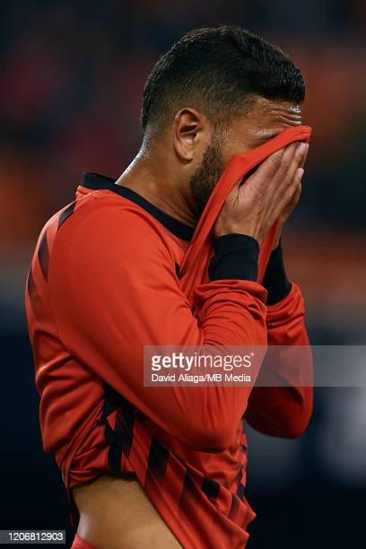 Renan Lodi of Atletico de Madrid reacts prior to the Liga match between Valencia CF and Club Atletico de Madrid at Estadio Mestalla on February 14...