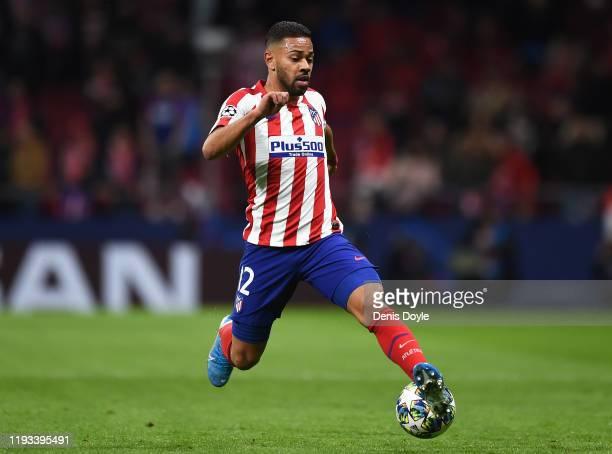 Renan Lodi of Atletico Madrid controls the ball during the UEFA Champions League group D match between Atletico Madrid and Lokomotiv Moskva at Wanda...