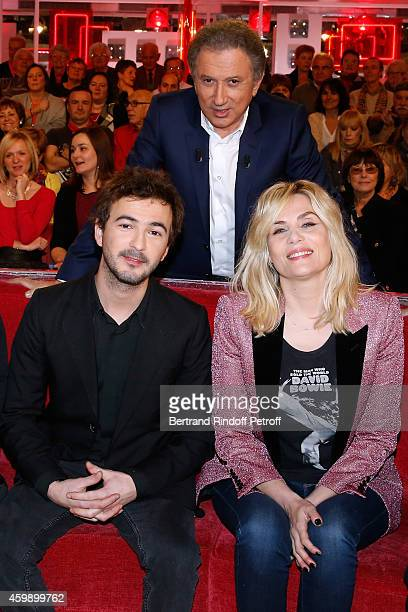 Renan Luce Michel Drucker and Emmanuelle Seigne attend the 'Vivement Dimanche' French TV Show special Album 'La bande a Renaud volume 2' Held at...