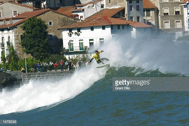 Renan Rocha of Brazil was eliminated by Michael Lowe of Australia in Round 3 of the Billabong Pro at Mundaka Spain on October 13 2002