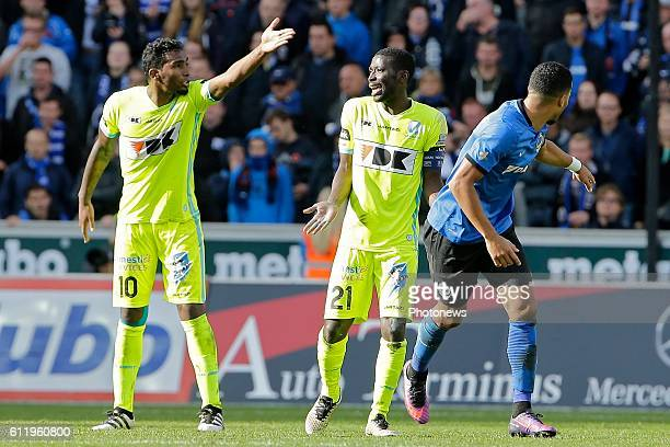 Renaoto Neto midfielder of KAA Gent and Nana Asare defender of KAA Gent pictured during Jupiler Pro League match between Club Brugge KV and KAA Gent...