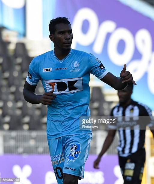 Renaoto Neto midfielder of KAA Gent celebrates with teammates after scoring pictured during Jupiler Pro League match between RCS Charleroi and KAA...