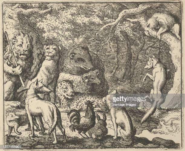 Renard Asks for Confession From Hendrick van Alcmar's Renard The Fox 165075 Third state of four Artist Allart van Everdingen