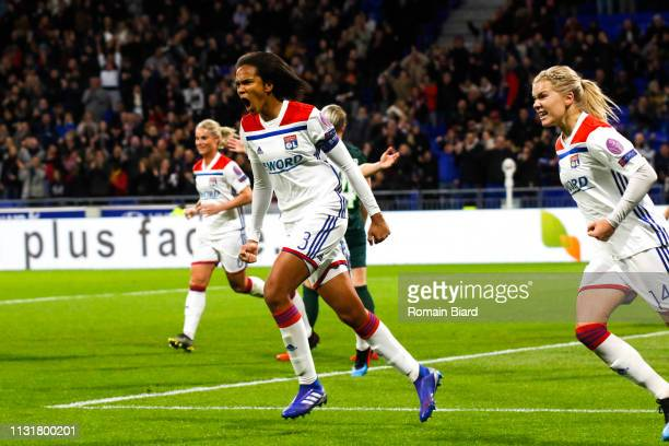 Renard Wendie of Lyon celebrates scoring his goal and Hegerberg Ada of Lyon during the Women's Champions League match between Lyon and Wolfsburg on...