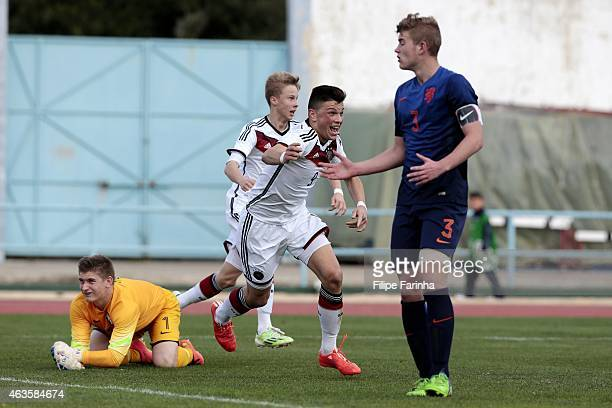 Renat Dadachov of Germany celebrates his late goal during the U16 UEFA development tournament between Germany and Netherlands on February 16 2015 in...