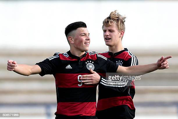 Renat Dadashov and Arne Maier of Germany celebrate the goal during the UEFA Under17 match between U17 Netherlands v U17 Germany on February 5 2016 in...