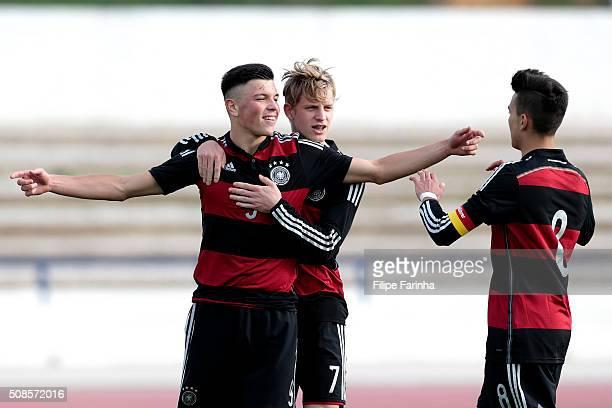 Renat Dadashov Arne Maier Atakan Akkaynak of Germany celebrate the goal during the UEFA Under17 match between U17 Netherlands v U17 Germany on...