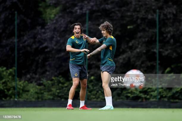 Renat Dadashov of Wolverhampton Wanderers reacts after a shot alongside Fabio Silva during a Wolverhampton Wanderers Pre-Season Training Session at...