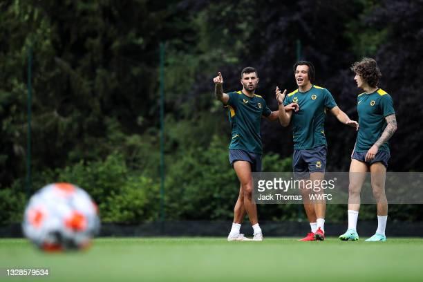 Renat Dadashov of Wolverhampton Wanderers reacts after a shot alongside Fabio Silva and Patrick Cutrone during a Wolverhampton Wanderers Pre-Season...