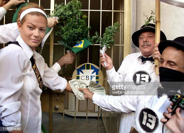 Renata Alves former commercial representative and lawyer of the excoach of Brazilian soccer selection Wanderley Luxemburgo shows dolares 13 October...