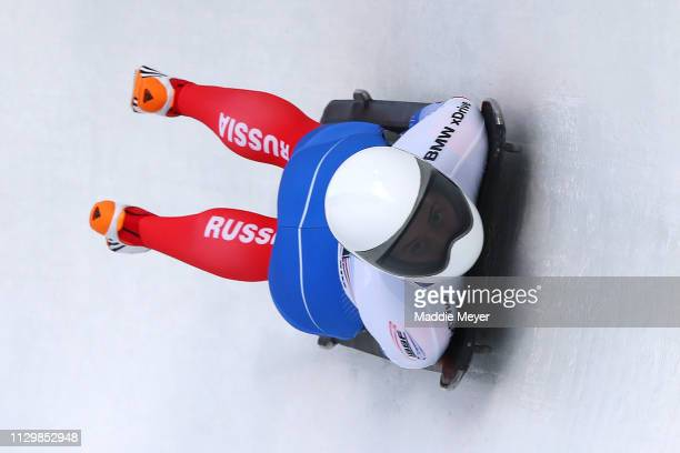Renata Khuzina of Russia competes during first run of the the Skeleton competition on day 1 of the 2019 IBSF World Cup Bobsled & Skeleton at the...
