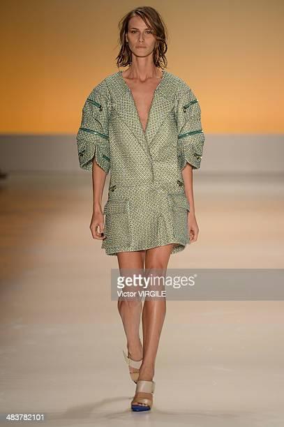 Renata Kuerten walks the runway during the Forum show at Sao Paulo Fashion Week Spring Summer 2014/2015 at Parque Candido Portinari on April 3 2014...