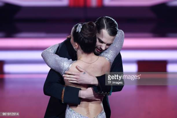 Renata Lusin hugs Jimi Blue Ochsenknecht during the 4th Show of 'Let's Dance' on April 13 2018 in Cologne Germany n