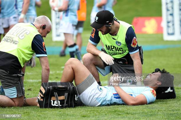 Renata Roberts TeNana of Northland is injured during the round 10 Mitre 10 Cup match between Northland and Otago at Semenoff Stadium on October 13...