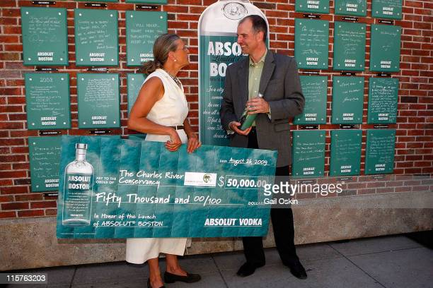 Renata von Tscharner and Tim Murphy attend the unveiling for the ABSOLUT Boston Flavor at Boylston Plaza Prudential Center on August 26 2009 in...