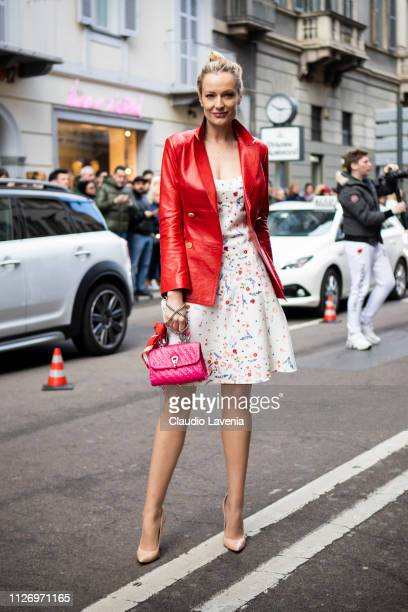 Renata Zanchi attends the Ermanno Scervino show at Milan Fashion Week Autumn/Winter 2019/20 on February 23 2019 in Milan Italy