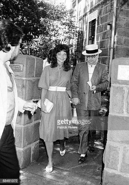 Renate Blauel and singer Elton John are seen outside St Mark's rectory two days before their wedding February 12 1984 in Sydney Australia