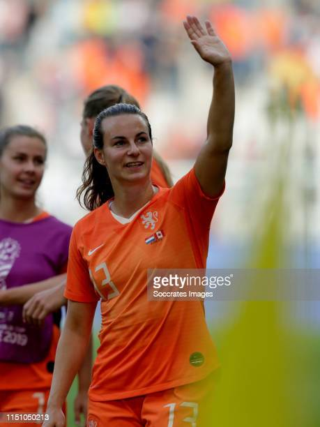Renate Jansen of Holland Women celebrates the victory during the World Cup Women match between Holland v Canada at the Stade Auguste-Delaune II on...