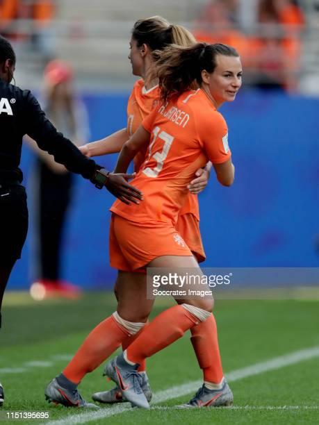 Renate Jansen of Holland Women, Danielle van de Donk of Holland Women during the World Cup Women match between Holland v Canada at the Stade...