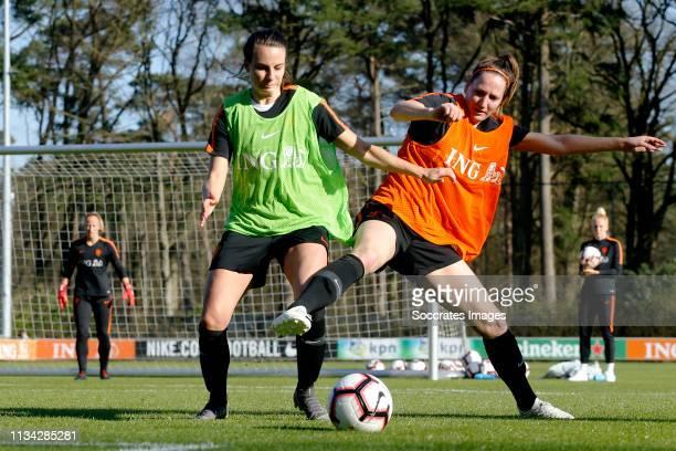 Renate Jansen of Holland Women, Ellen Jansen of Holland Women during the Training Holland Women at the KNVB Campus on April 1, 2019 in Zeist...