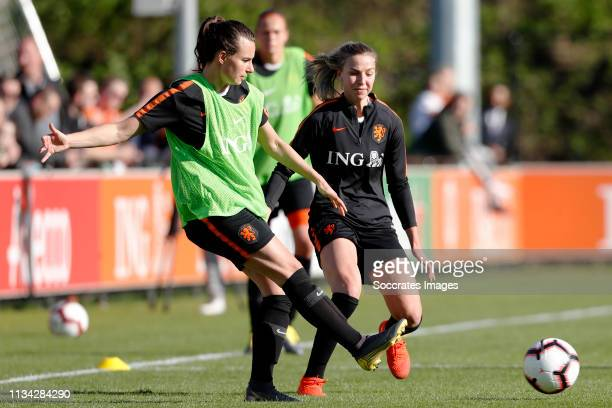 Renate Jansen of Holland Women, Jackie Groenen of Holland Women during the Training Holland Women at the KNVB Campus on April 1, 2019 in Zeist...