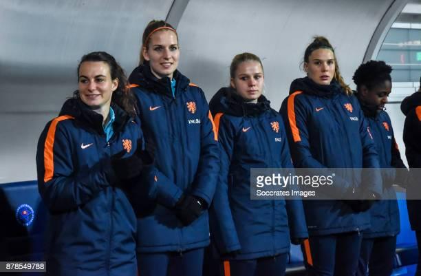 Renate Jansen of Holland Women Kelly Zeeman of Holland Women Kika van Es of Holland Women Lize Kop of Holland Women during the World Cup Qualifier...