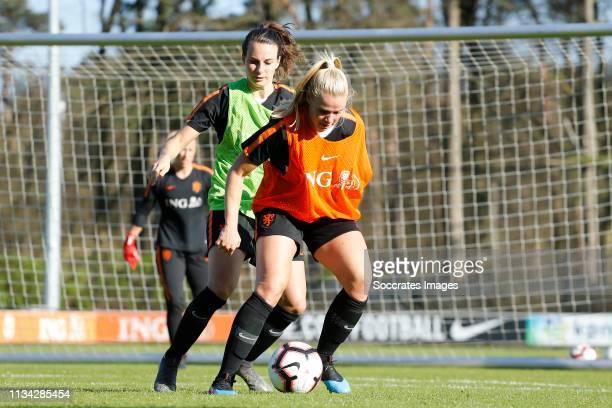 Renate Jansen of Holland Women, Kika van Es of Holland Women during the Training Holland Women at the KNVB Campus on April 1, 2019 in Zeist...