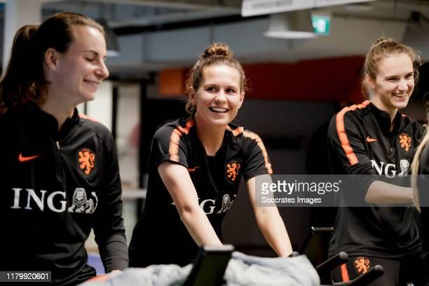 Renate Jansen of Holland Women, Merel van Dongen of Holland Women, Vivianne Miedema of Holland Women during the Training Holland Women at the KNVB...