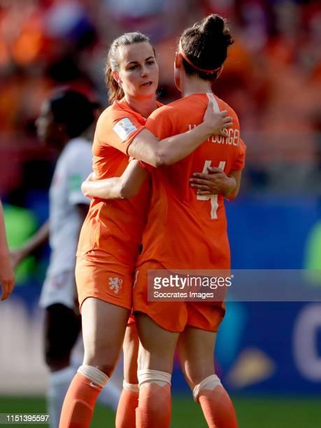 Renate Jansen of Holland Women, Merel van Dongen of Holland Women celebrates the victory during the World Cup Women match between Holland v Canada at...