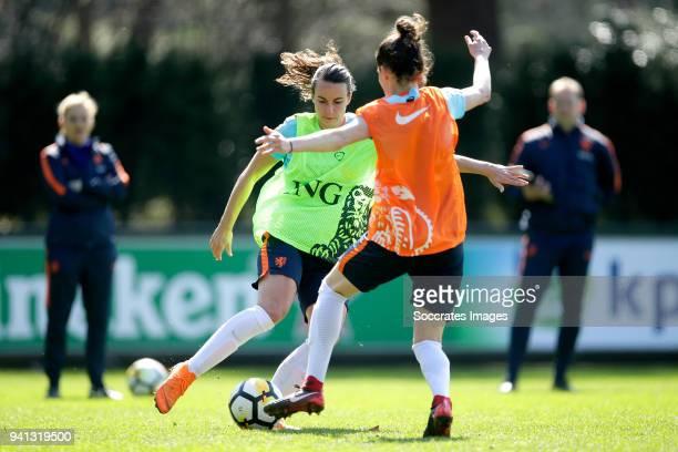 Renate Jansen of Holland Women Merel van Dongen of Holland Women during the Training Holland Women at the KNVB Campus on April 3 2018 in Zeist...