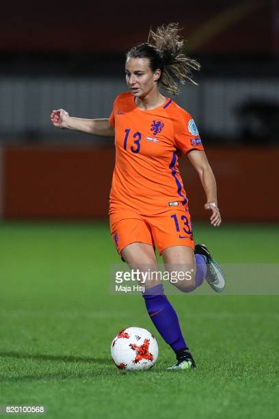 Renate Jansen of the Netherlands controls the ball during the UEFA Women's Euro 2017 Group A match between Netherlands and Denmark at Sparta Stadion...