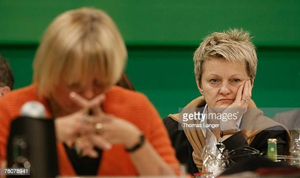 Renate Kuenast and Claudia Roth are seen during the second day of the German Green party's congress at the Frankenhalle on November 24 2007 in...