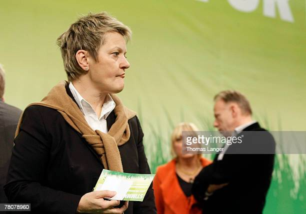 Renate Kuenast Claudia Roth and Juergen Trittin are seen during the second day of the German Green party's congress at the Frankenhalle on November...