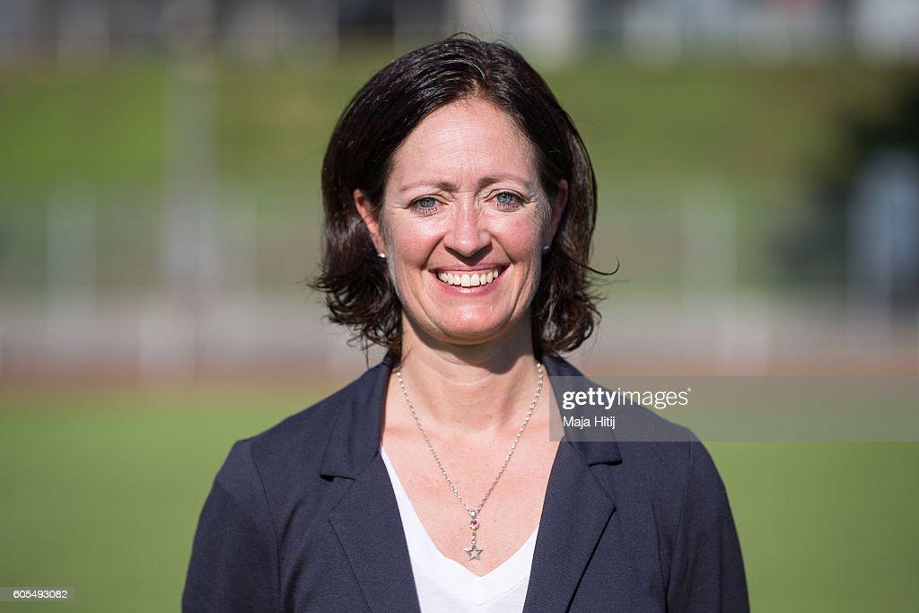 Renate Lingor poses during the Germany Women's U20 team presentation on September 13, 2016 in Duesseldorf, Germany.